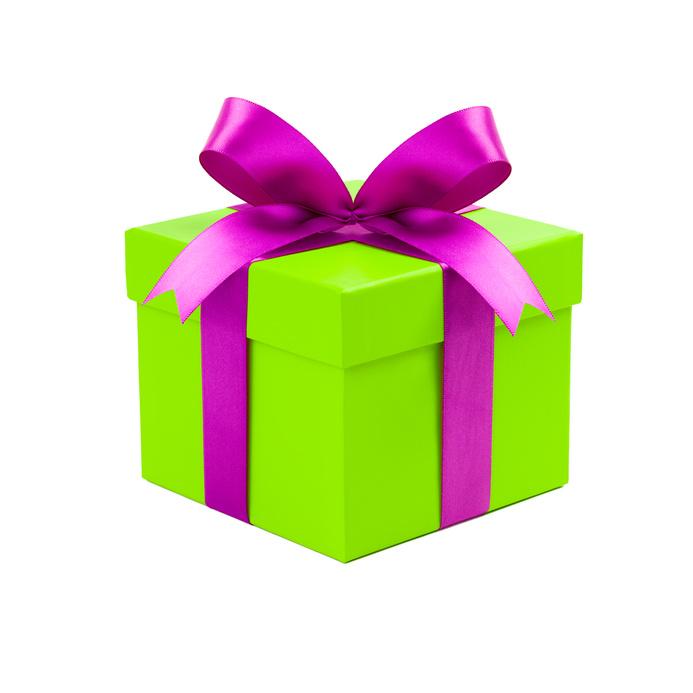 Buntes Geschenk vor weiem Hintergrund